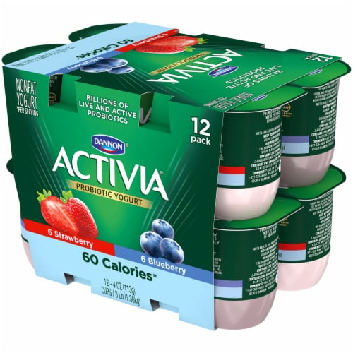 Dannon Activia Light Blueberry & Strawberry Yogurt 12 Count Perspective: right