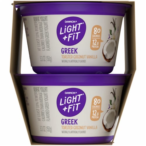 Dannon Light & Fit Toasted Coconut Vanilla Greek Nonfat Yogurt 4 Count Perspective: right