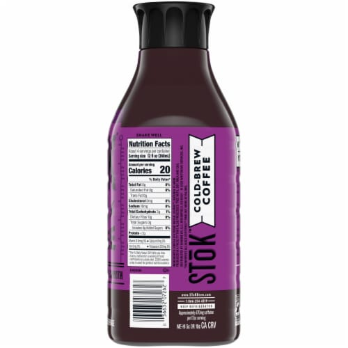Stok Extra Bold Un-Sweet Black Cold Brew Coffee Perspective: right