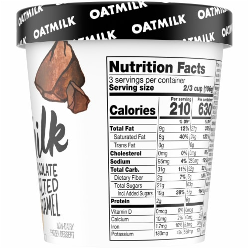 SO Delicious Oatmilk Chocolate Salted Caramel Dairy Free Frozen Dessert Perspective: right