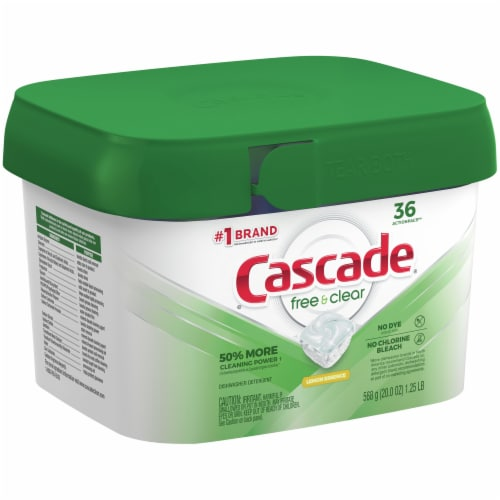 Cascade Free & Clear Lemon Essence Dishwasher Detergent ActionPacs Perspective: right