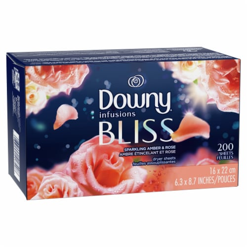 Downy Infusions Bliss Sparkling Amber and Rose Fabric Softener Dryer Sheets Perspective: right