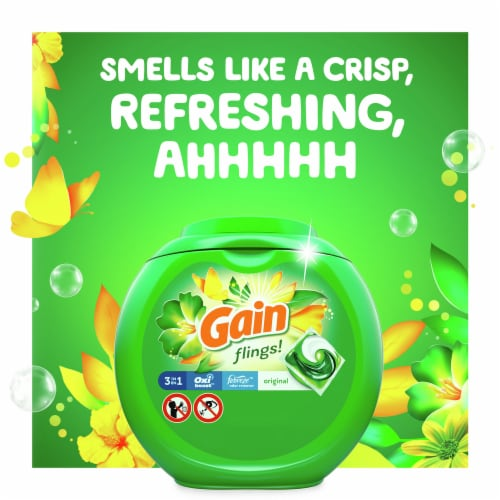 Gain Flings! Original Scent 3-in-1 with Febreze Freshness Laundry Detergent Pacs Perspective: right