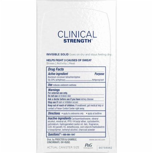 Secret Clinical Strength Odor Shield with Charcoal Invisible Solid Antiperspirant Deodorant Stick Perspective: right