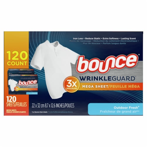 Bounce® Wrinkle Guard Outdoor Fresh Mega Dryer Sheets Perspective: right