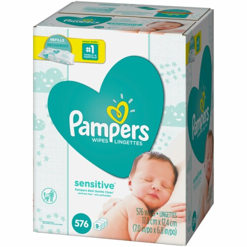 Pampers Sensitive Baby Wipes Perspective: right