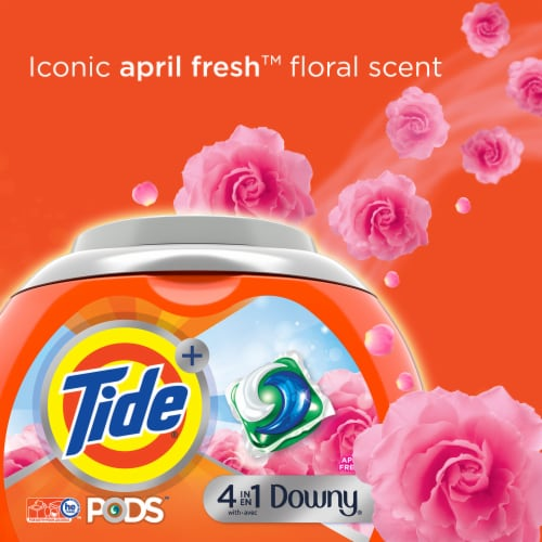 Tide 4-in-1 Downy April Fresh Liquid Laundry Pods Perspective: right