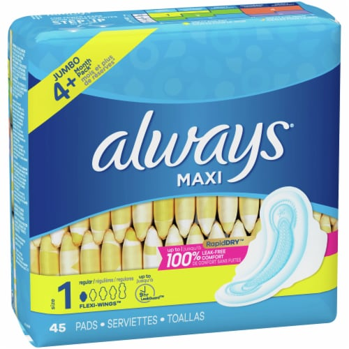 Always Unscented Size 1 Regular Maxi Pads with Wings Perspective: right