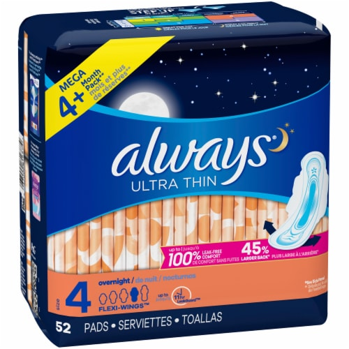 Always Ultra Thin Size 4 Overnight Pads with Wings Perspective: right