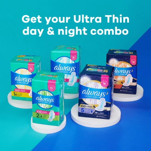 Always Ultra Thin Size 4 Overnight Pads with Flex-Wings Perspective: right