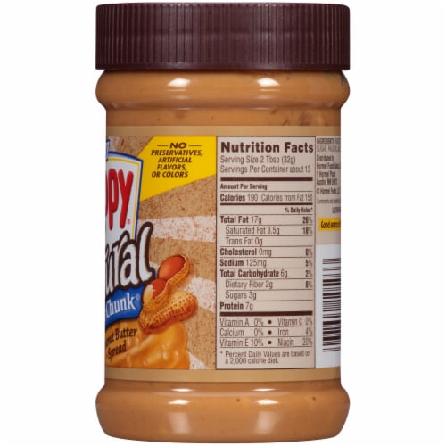 Skippy® Natural Super Chunk Extra Chunky Peanut Butter Spread Perspective: right