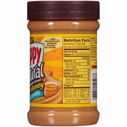 Skippy Natural Creamy Peanut Butter Spread with Honey Perspective: right