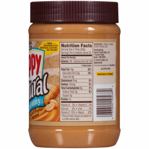 Skippy® Natural Creamy Peanut Butter Spread Perspective: right