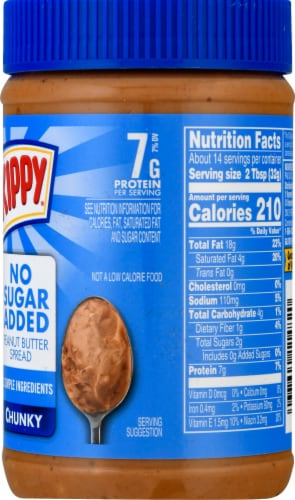 Skippy No Sugar Added Chunky Peanut Butter Spread Perspective: right