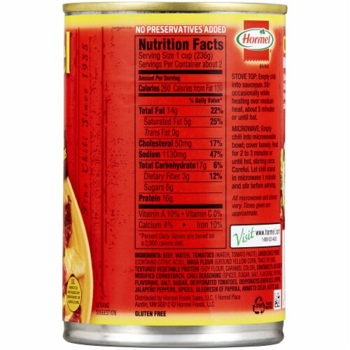 Hormel Chunky No Beans Chili Perspective: right