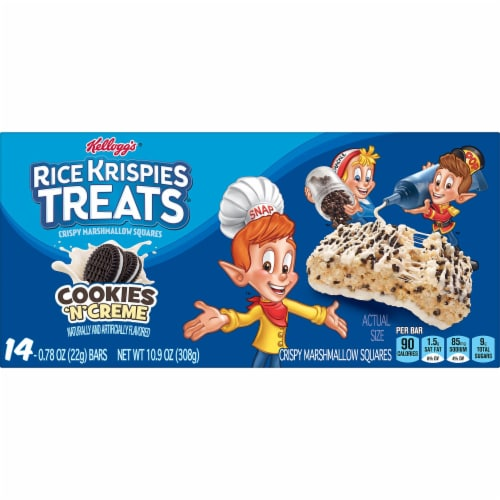 Kellogg's Rice Krispies Treats Marshmallow Squares Bars Cookies 'N' Creme Perspective: right