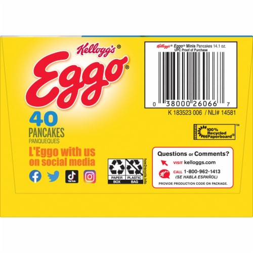 Eggo Minis Frozen Breakfast Pancakes Original Perspective: right