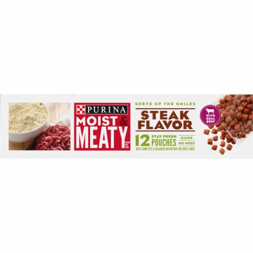 Moist & Meaty Steak Flavor Wet Dog Food Pouches Perspective: right