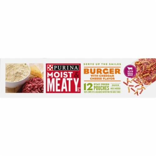 Moist & Meaty Burger with Cheddar Cheese Flavor Dry Dog Food Pouches 12 Count Perspective: right