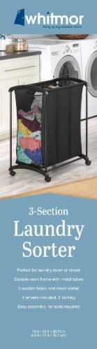 Whitmor 3-Section Laundry Sorter - Black Perspective: right