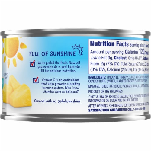 Dole Canned Pineapple Chunks in 100% Pineapple Juice Perspective: right