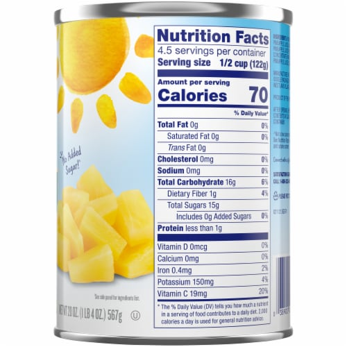 Dole Canned Pineapple Tidbits in 100%  Pineapple Juice Perspective: right