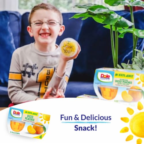 Dole Diced Peach Cups in 100% Fruit Juice Perspective: right