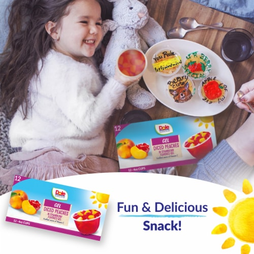 Dole Peaches in Strawberry Flavored Gel Perspective: right