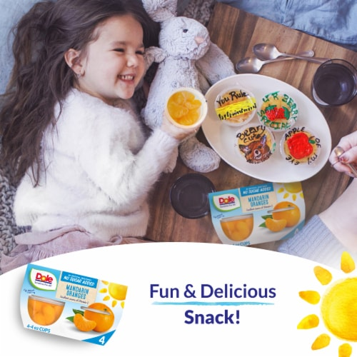 Dole Mandarin Oranges No Sugar Added Fruit Cups Perspective: right