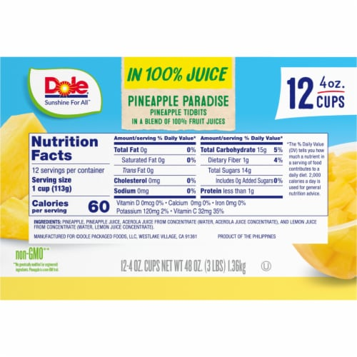 Dole Pineapple Paradise in 100% Juice Fruit Tidbits Perspective: right