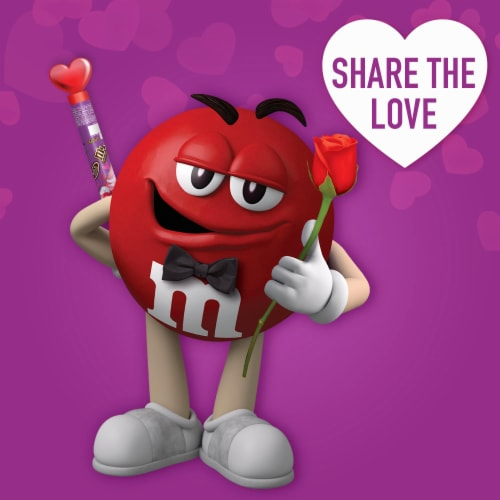M&M'S Milk Chocolate Valentine Candy Heart Candy Cane Perspective: right