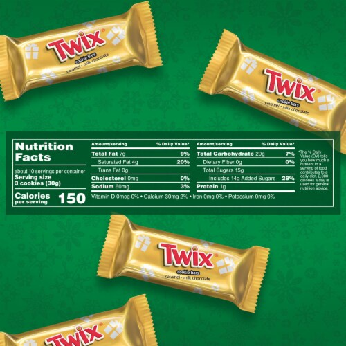 Twix Holiday Minis Caramel Milk Chocolate Cookie Bar Christmas Candy Perspective: right