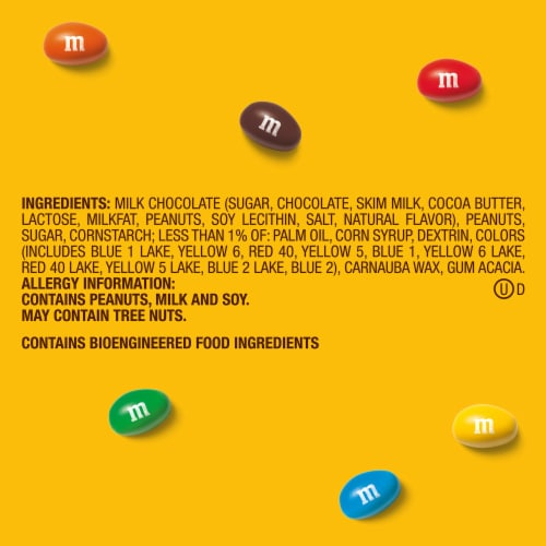 M&M's Peanut Chocolate Candy Party Size Bag Perspective: right