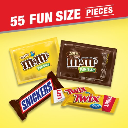 SNICKERS M&M'S & TWIX Fun Size Chocolate Candy Variety Mix 55 Piece Bag Perspective: right