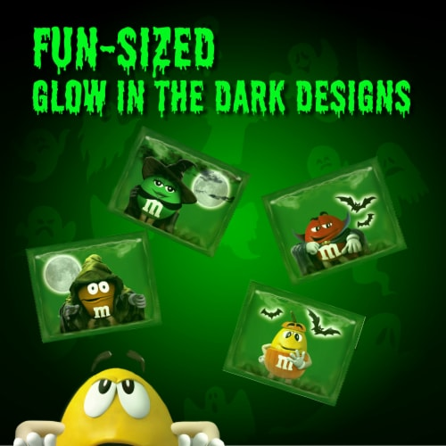 M&M'S Peanut Milk Chocolate Glow In The Dark Fun Size Halloween Trick or Treat Packs Perspective: right