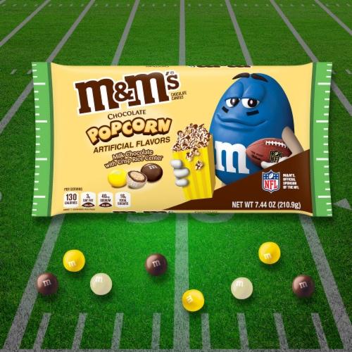 M&M's Milk Chocolate Popcorn Crisp Rice Center Halloween Candy Perspective: right