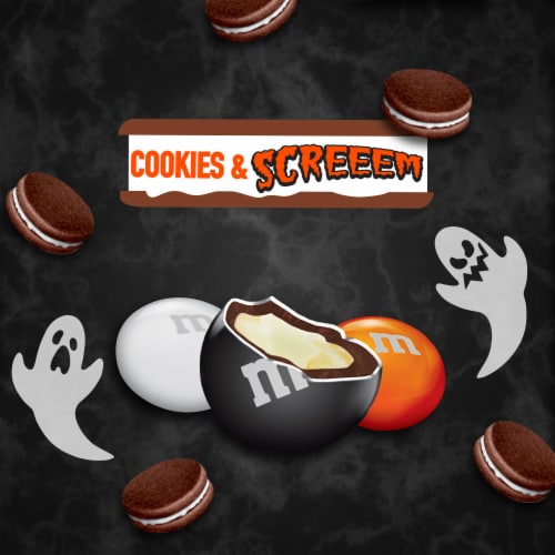 M&M's® Cookies & Screeem Chocolate & White Chocolate Halloween Candy Perspective: right