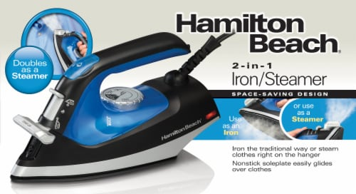 Hamilton Beach Flip Handle Iron and Steamer - Black/Blue/Gray Perspective: right