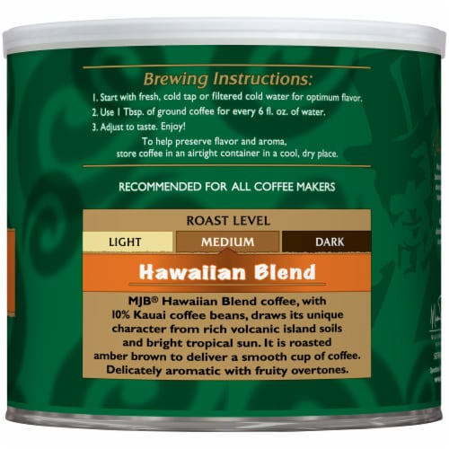 MJB Hawaiian Blend Ground Coffee Perspective: right