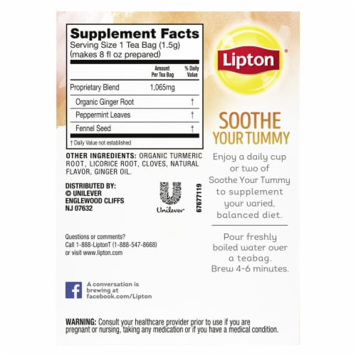 Lipton Soothe Your Tummy Ginger Peppermint & Fennel Caffeine Free Herbal Supplement Tea Bags Perspective: right