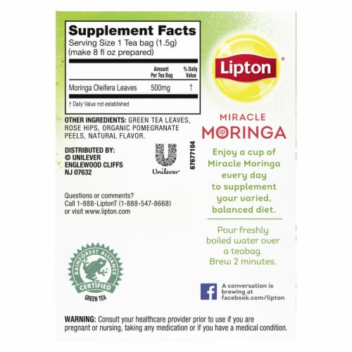 Lipton Miracle Moringa Pomegranate Green Tea Bags Perspective: right
