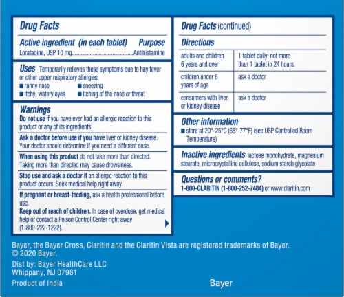 Claritin 24 Hour Non-Drowsy Indoor & Outdoor Allergy Relief Tablets Perspective: right