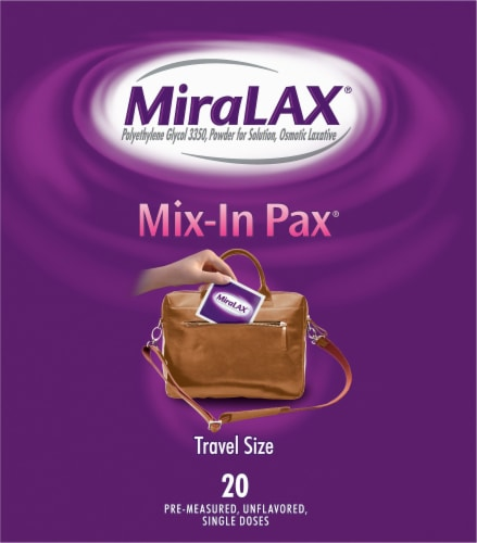 MiraLAX® Mix-In Pax® Sugar Free Laxative Powder for Gentle Constipation Relief Perspective: right
