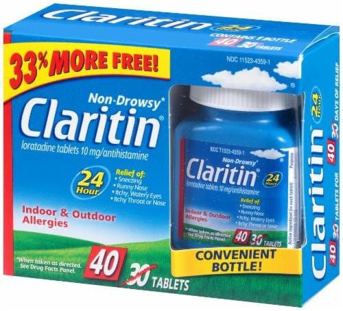 Claritin Non-Drowsy Indoor & Outdoor Allergies Tablets 10mg Perspective: right