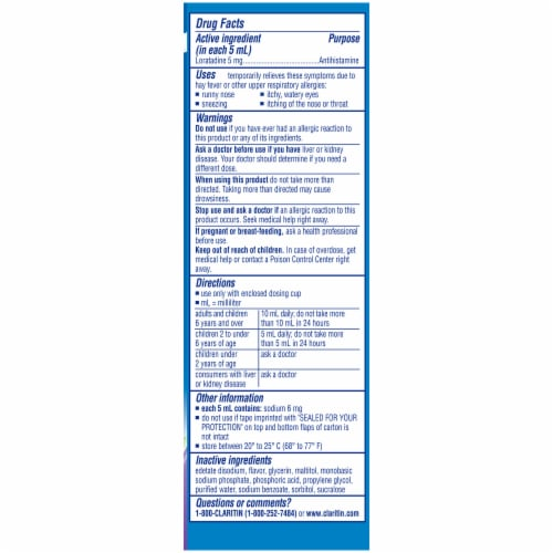 Children's Claritin Grape 24 Hour Allergy Syrup Perspective: right