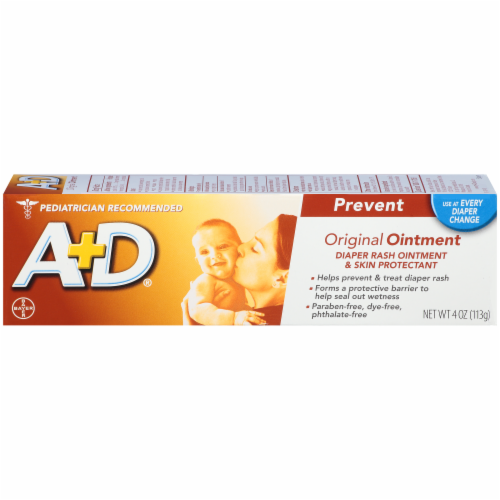 A+D Prevent Original Diaper Rash Ointment & Skin Protectant Perspective: right