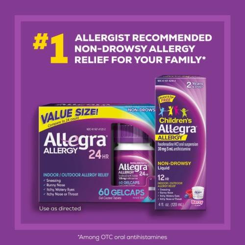 Allegra® 24 Hour Non-Drowsy Indoor/Outdoor Allergy Relief Gelcaps 180 mg Perspective: right