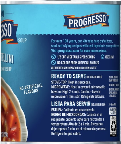 Progresso Traditional Cheese Tortellini in Garden Vegetable Tomato Soup Perspective: right