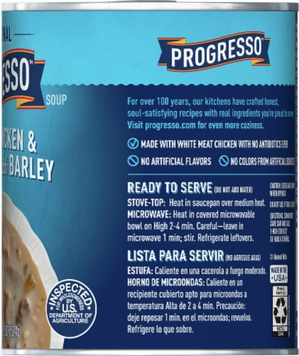 Progresso Traditional Creamy Chicken & Mushroom with Barley Soup Perspective: right