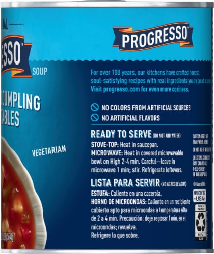 Progresso Traditional Zesty Tomato Dumpling with Vegetables Soup Perspective: right